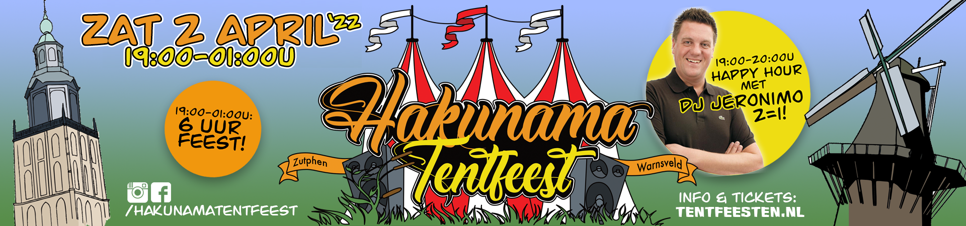 Hakunama Tentfeest banner